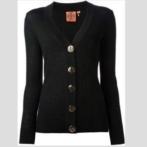 Tory Burch Sweaters - Tory Burch black cardigan w silver logo buttons XS